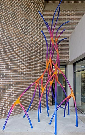 This large scale metal structure simulates neurons and is located on the second floor outside of the library.