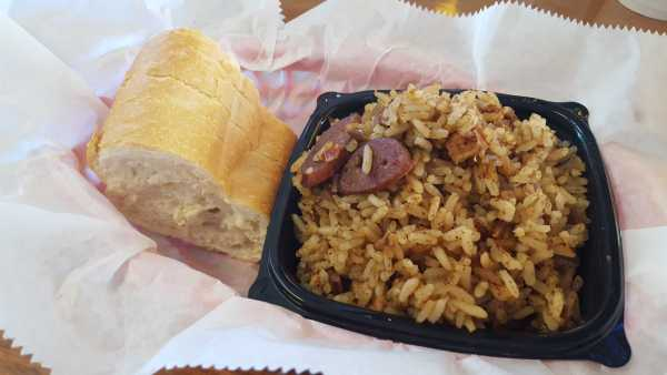 Jambalaya is a traditional Louisiana dish with enough spice in an eight ounce cup to leave customers craving a sweet dessert. Photo by Courtney Stringfellow