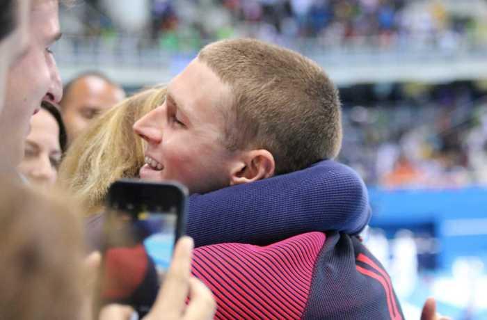 Katy Murphy hugs her son at the Rio Olympics. Photo courtesy Katy Murphy