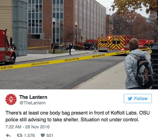 Shooter contained on Ohio State campus: 10 injured, one critical
