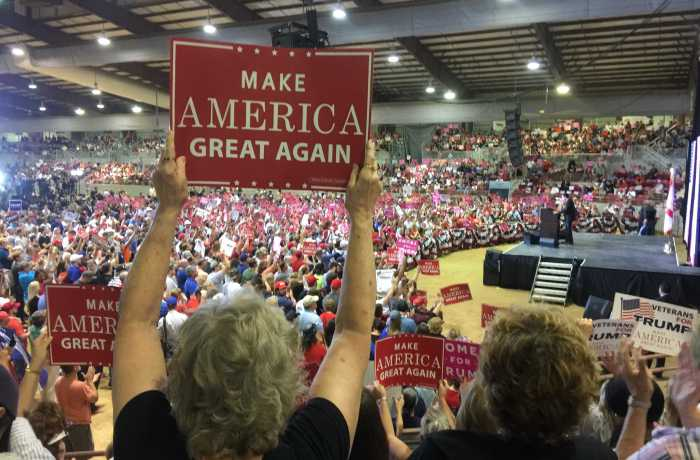 Thousands attended a Trump rally on Nov. 3. Photo by Will Weber