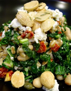 Warm Kale Salad with Farro and Feta