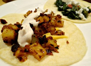On Vegetable Tacos, with recipe: Potato-Soyrizo Tacos with Lime Crema