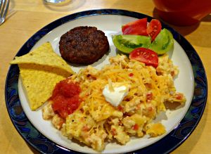 Migas: Eggs Scrambled with Salsa and Tortilla Chips