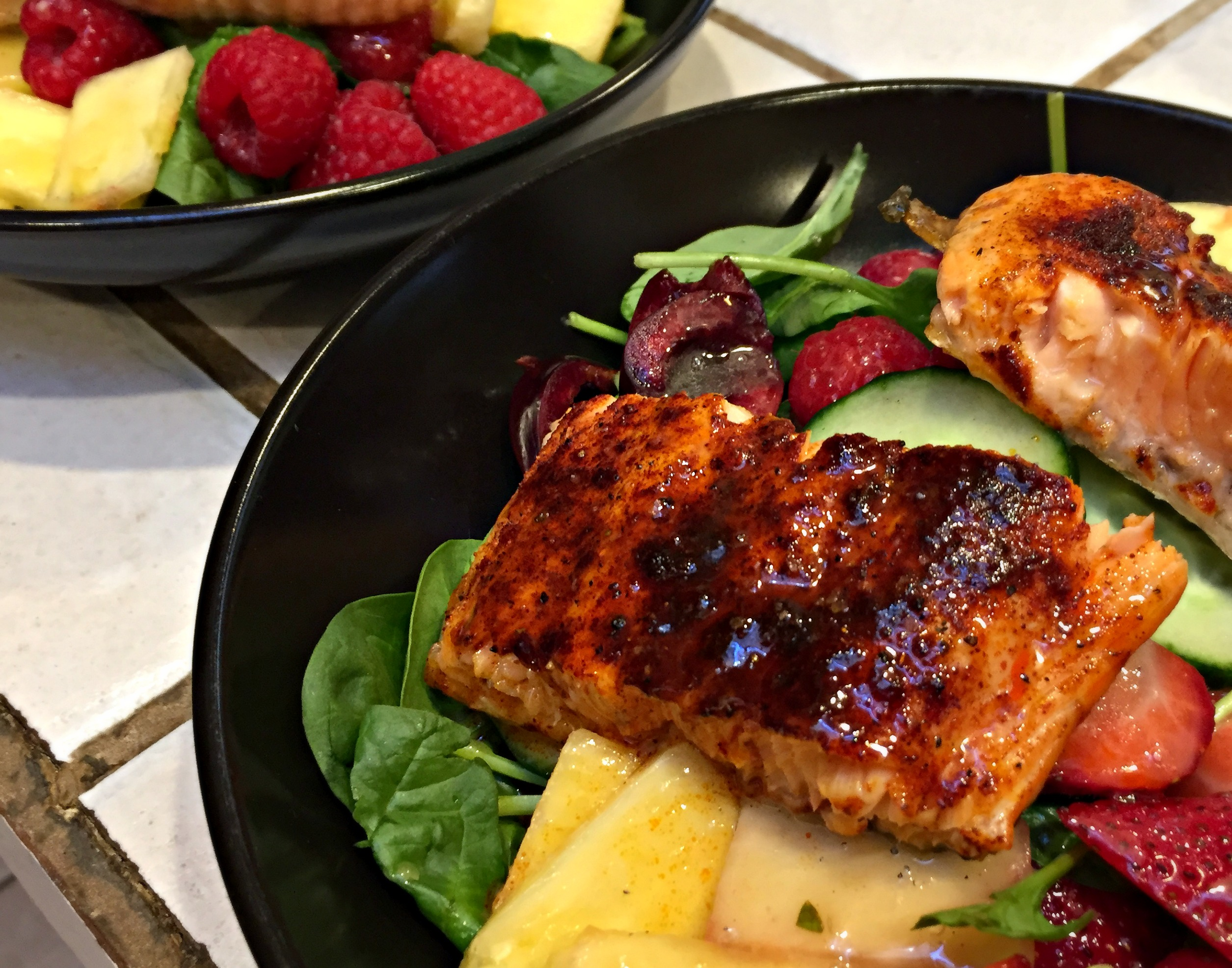 Summer Salmon and Berry Salad with Cardamom-Honey-Lime Dressing