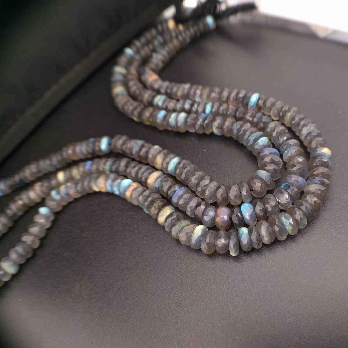 3x2MM Light Gray Labradorite Beads AAA Genuine Natural Gemstone Full Strand Faceted Rondelle Loose Beads 15 Bulk Lot Options 111779-3407