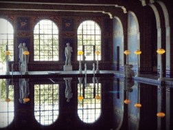 The pool and surrounding room, which were built from 1927-1934, can be compared to an ancient Roman bath. The pool, like the baths, is located indoors. Its water was heated as in a tepidarium. However, in Hearst's complex there were no hot or cold baths as there were in the ancient complex. The Roman Pool complex was designed to contain an exercise room, sweat baths, a handball court and dressing rooms. (hearstcastle.org)