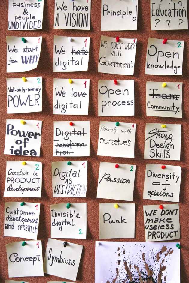 notes on board describing living as your authentic self
