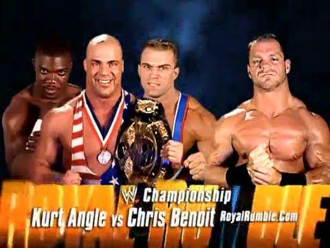 15733 - charlie_haas chris_benoit gold_medals kurt_angle match_card royal_rumble shelton_benjamin smiling wwe wwe_championship