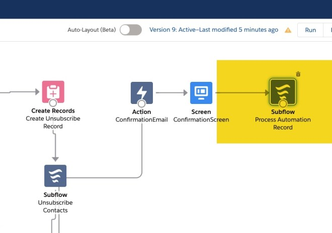 Flow canvas with confirmation screen element connecting to a highlighted element called Subflow: Process automation record
