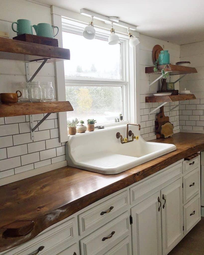 Modern Farmhouse Kitchen Floating Shelves Novocom Top