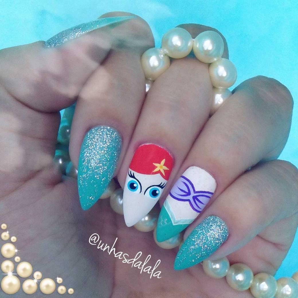 Unhas Decoradas Ariel (A Pequena Sereia)
