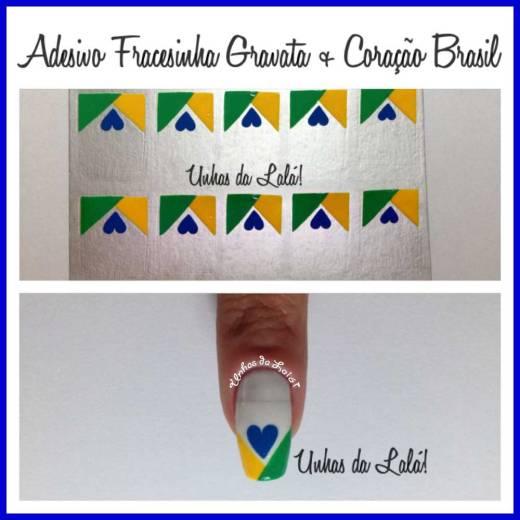 Unhas Decoradas Francesinha Gravata + Coração Brasil