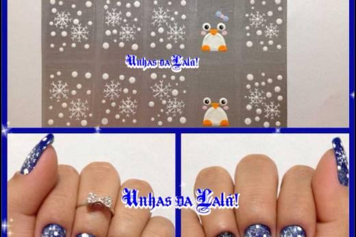 Unhas Decoradas Pinguins de Natal