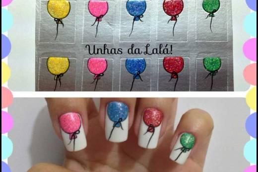 Unhas Decoradas Balões Coloridos