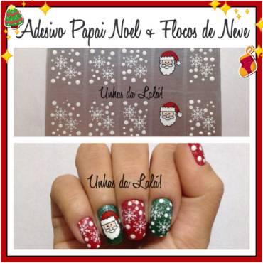 Unhas Decoradas Papai Noel + Flocos de Neve