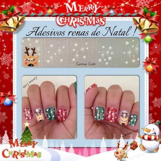 Unhas Decoradas Renas de Natal