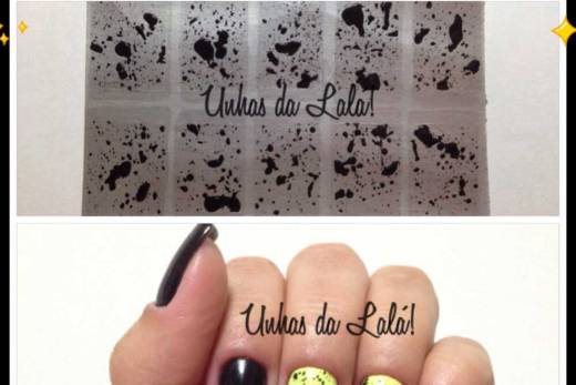 Unhas Decoradas Splatter Preto