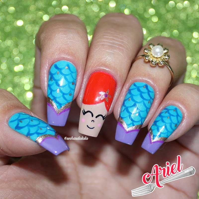 Unhas Decoradas Ariel - A Pequena Sereia
