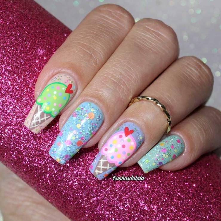 Unhas Decoradas Sorvete com Casquinha + Glitter