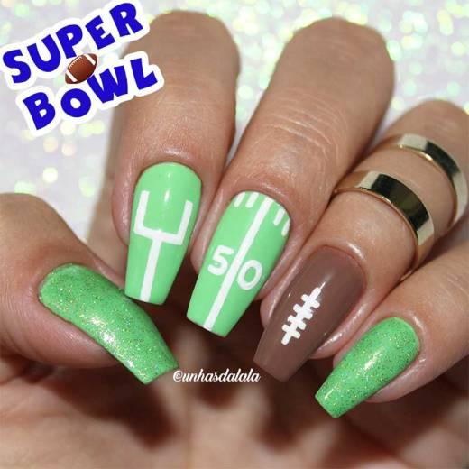 Unhas Decoradas Futebol Americano - Super Bowl