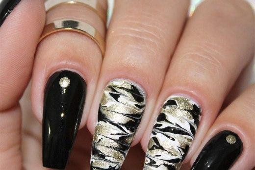 tutorial unhas decoradas marmorizadas sem água