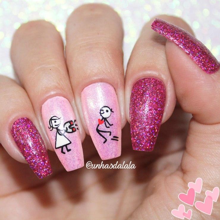 Unhas Decoradas para o Dia dos Namorados, dia dos namorados, unha rosa, unhas pink, rosa, pink, namorados, unhas glitter, glitter