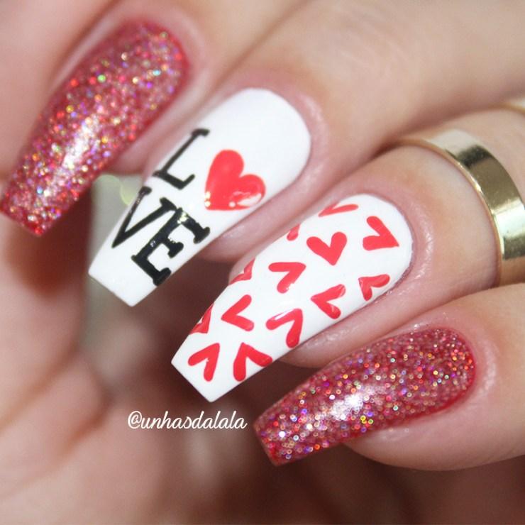 unhas dia dos namorados, namorados, unha vermelha, unha glitter, love, dia dos namorados, vermelho, branco, glitter vermelho