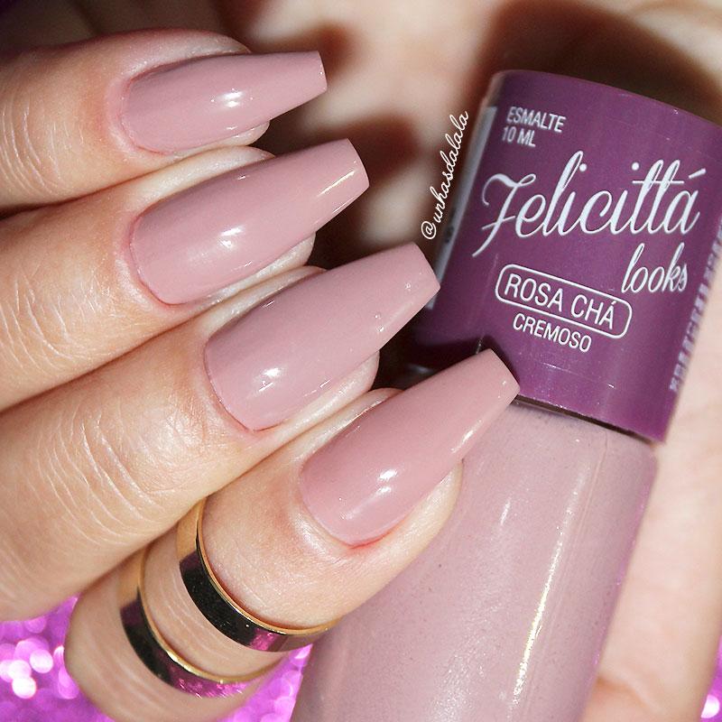 review esmalte felicittá looks rosa chá