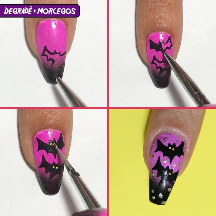 5 unhas fáceis para o halloween, unhas fáceis para o halloween, halloween, unhas halloween, halloween nails, unhas morcego halloween