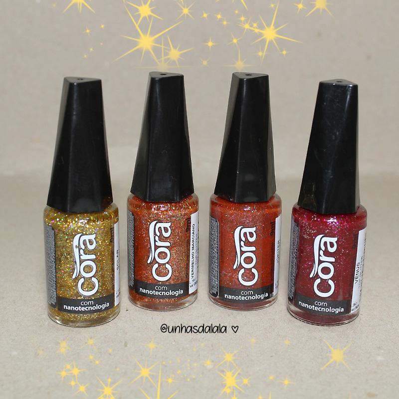 recebidos esmalte cora, glitters, glitter, top glitters cora, glitters cora, esmalte cora, glitter dourado, glitter laranja, glitter vermelho