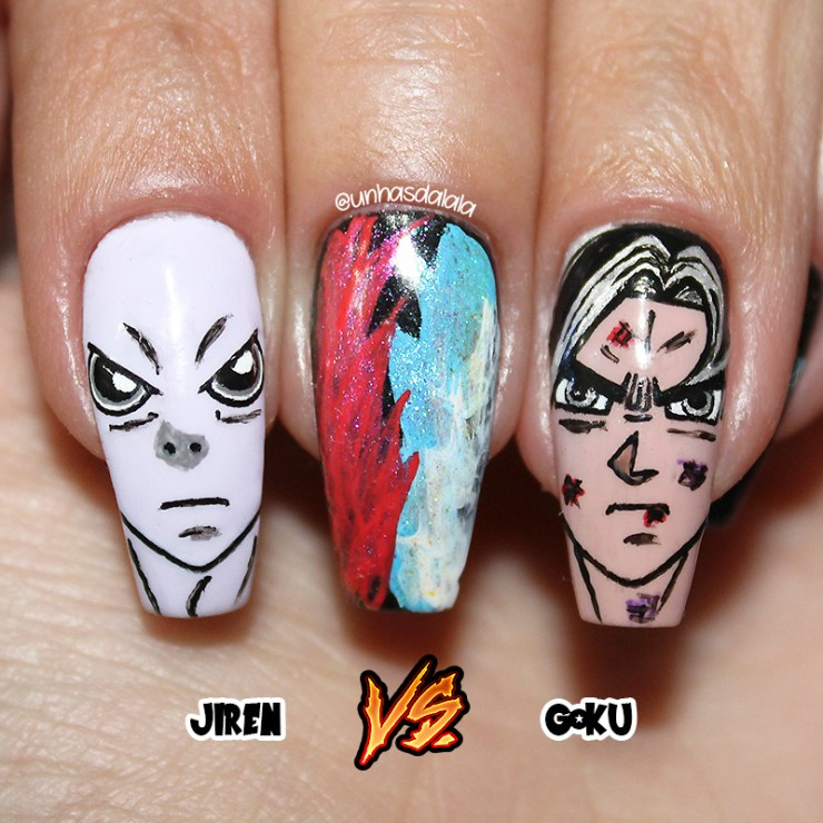 unhas decoradas dragon ball super, dragon ball, dragon ball super, goku, son goku, jiren, unhas decoradas dragon ball, dragon ball nails, dragon ball nail art, goku nail art, goku nails, jiren nails, goku vs jiren, unhas decoradas anime, anime nails, dragon ball nail art, dragon ball nails