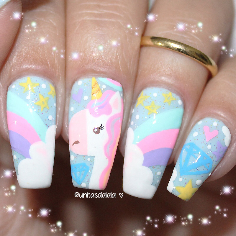 unhas decoradas unicórnio fofíneo, unicórnio, unhas decoradas de unicórnio, unicórnio fofo, unhas unicórnio, unicorn nail art, unicorn nails, unicorn nail, unicórnio fofinho, unhas arco-íris, rainbow nails