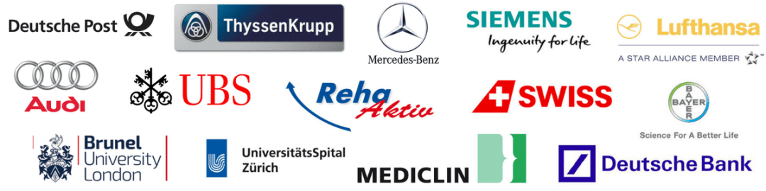 Logos von Kunden der unibee Institute GmbH: Deutsche Post, ThyssenKrupp, Mercedes-Benz, Siemens, Lufthansa, Audi AG, Deutsche Bank, UBS Bank Schweiz, Bayer AG, Swiss Airlines, Universität Heidelberg, Malteser Hilfsverein, Brunel Univerity London, UniversitätsSpital Zürich, Reha Aktiv