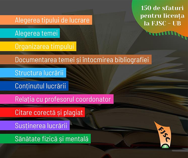 """Proiectul """"150 de sfaturi pentru licența la FJSC – UB"""""""