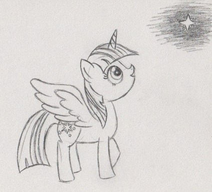 Princess Twilight looking up at a star