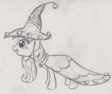 Twilight Sparkle in her Starswirl the Bearded costume, leaning forward