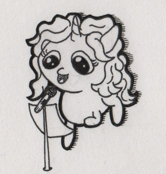 A unicorn standing behind a microphone with a sheet of paper, talking