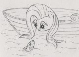 Fluttershy looking over the edge of a boat, smiling at a fish