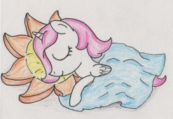 Celestia as a little filly, sleeping with her head on a sun-shaped pillow