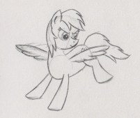 Rainbow Dash, spreading her wings and stretching her legs