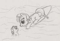 Sweetie Belle lying on a surfboard, looking at a seapony