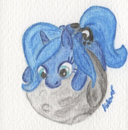 Princess Luna (filly form) hugging the moon