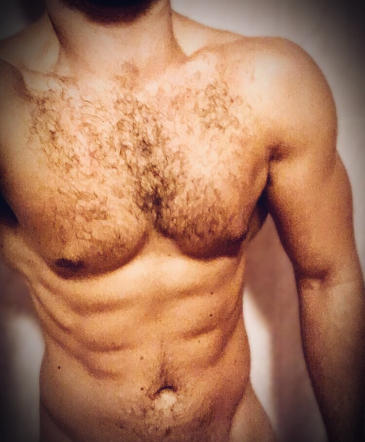 A muscular young man's torso