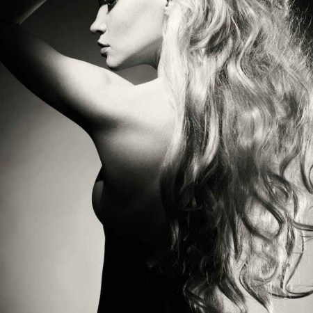 beautiful naked blonde woman in black and white