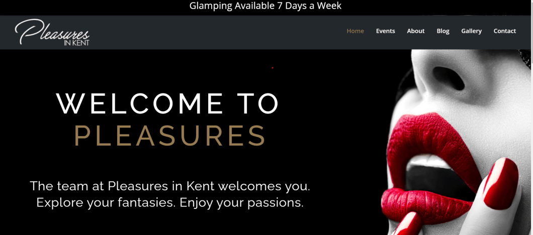 Website for Pleasures in Kent opening image of a woman with red lipstick and nailpolish