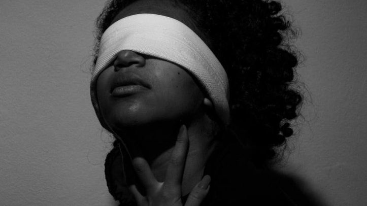 woman with blindfold- is she a cuckqueen?
