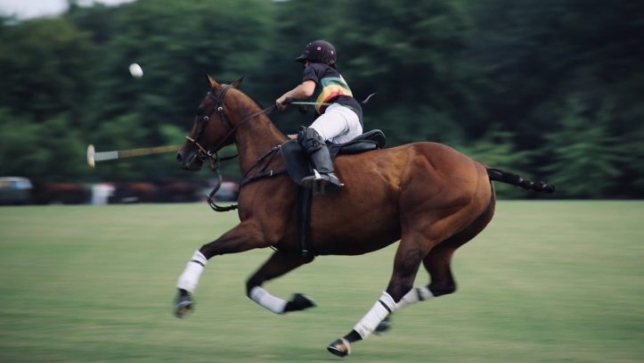panning photo of person riding on horse could he be a vaccinated right wing person?