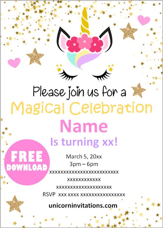 free printable unicorn birthday