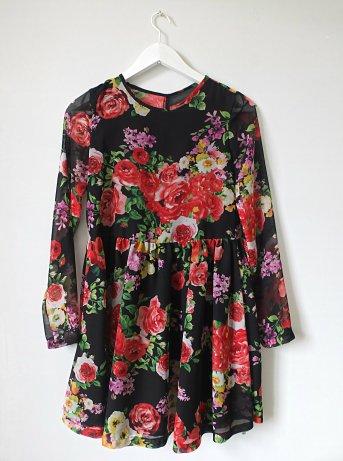 szyfonowa sukienka w kwiaty marszczona unicornisbytysia burda 1